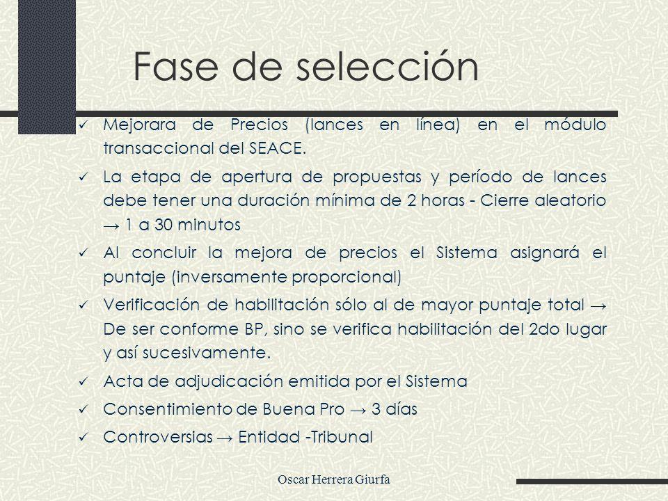 Fase de selecciónMejorara de Precios (lances en línea) en el módulo transaccional del SEACE.