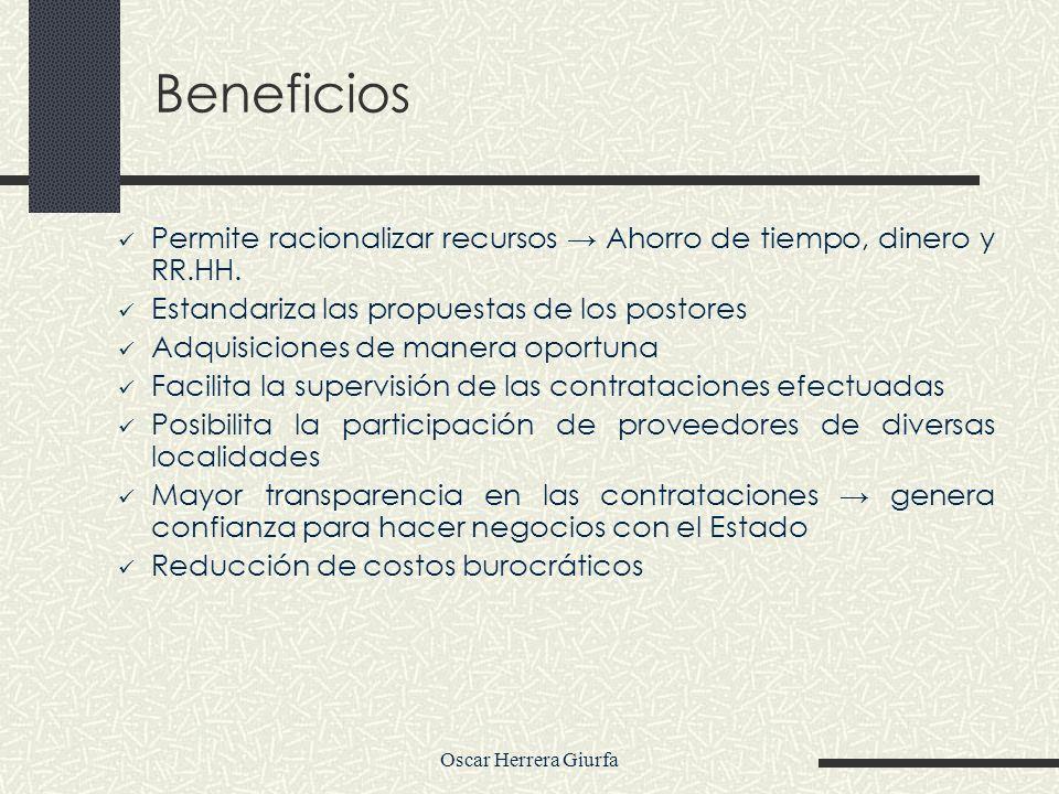 Beneficios Permite racionalizar recursos → Ahorro de tiempo, dinero y RR.HH. Estandariza las propuestas de los postores.
