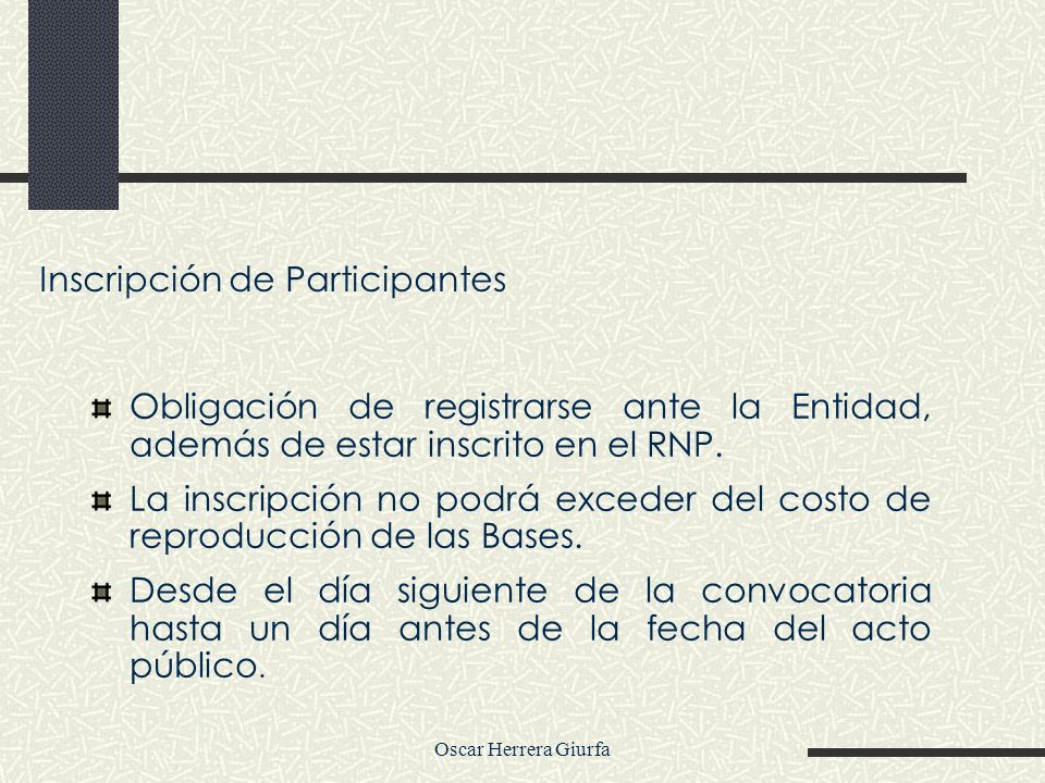 Inscripción de Participantes