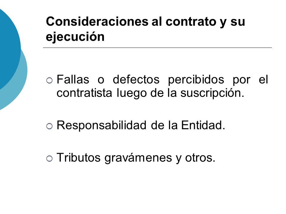 Consideraciones al contrato y su ejecución