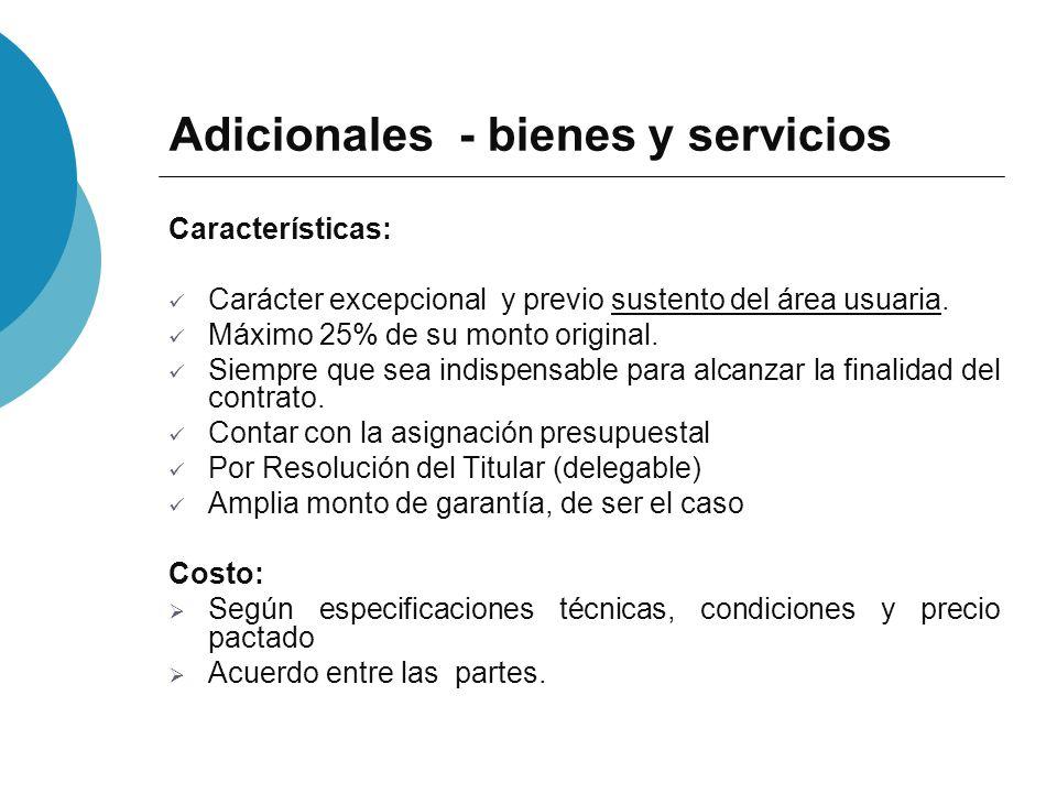 Adicionales - bienes y servicios