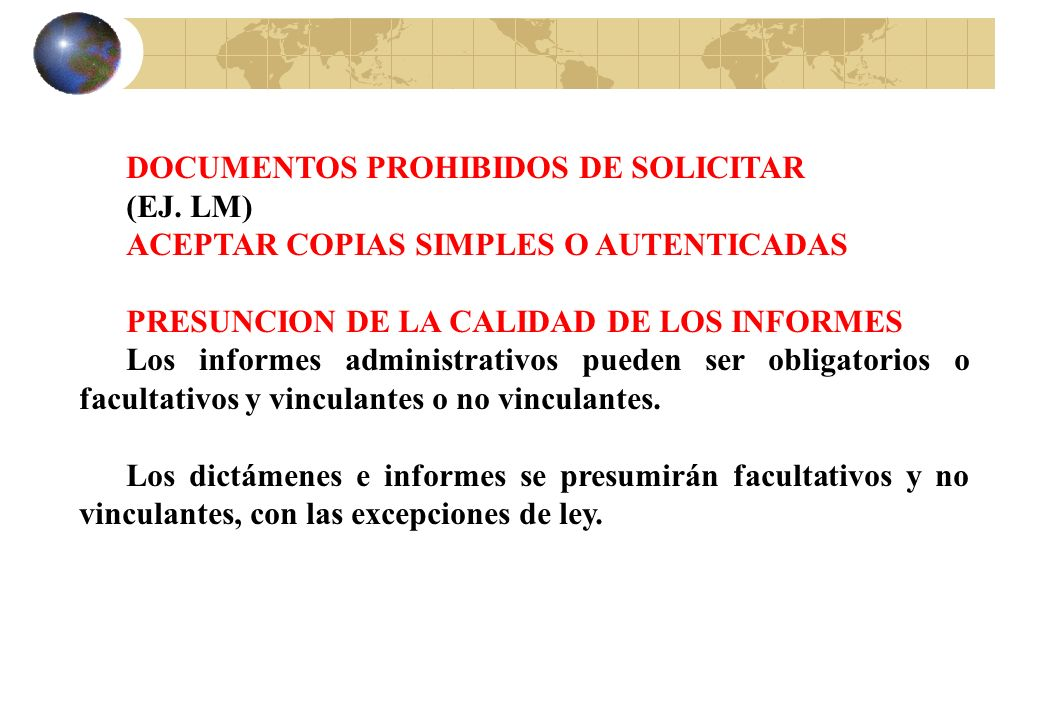 DOCUMENTOS PROHIBIDOS DE SOLICITAR