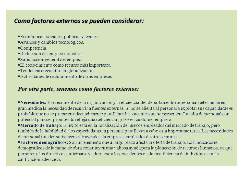 Como factores externos se pueden considerar: