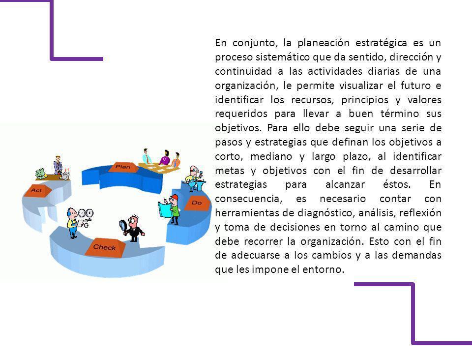 En conjunto, la planeación estratégica es un proceso sistemático que da sentido, dirección y continuidad a las actividades diarias de una organización, le permite visualizar el futuro e identificar los recursos, principios y valores requeridos para llevar a buen término sus objetivos.