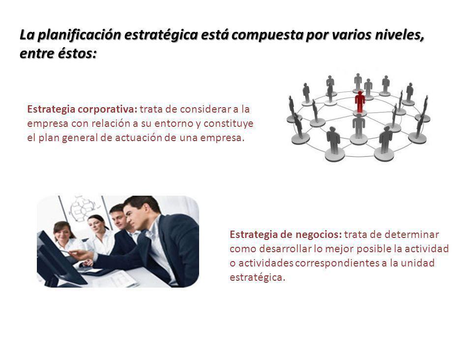 La planificación estratégica está compuesta por varios niveles, entre éstos: