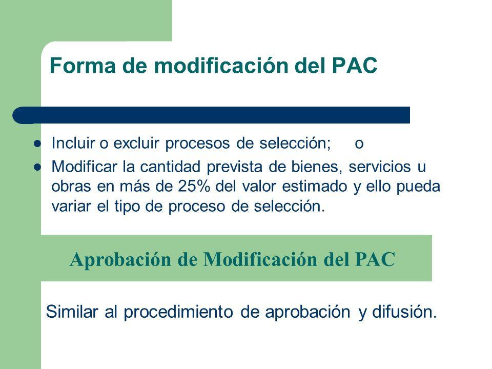 Forma de modificación del PAC