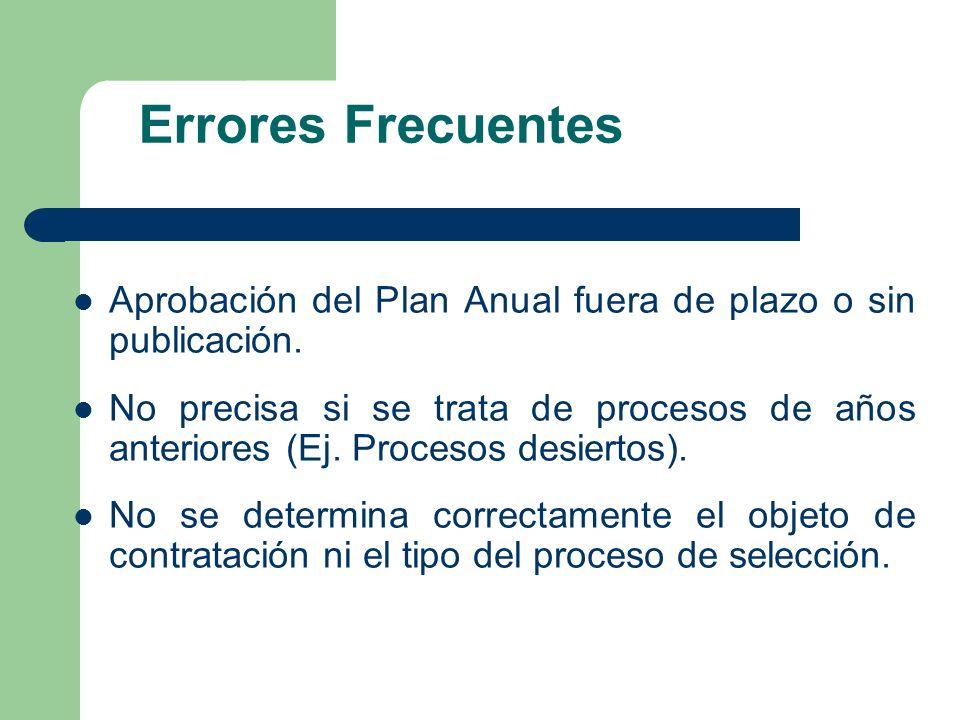 Errores FrecuentesAprobación del Plan Anual fuera de plazo o sin publicación.
