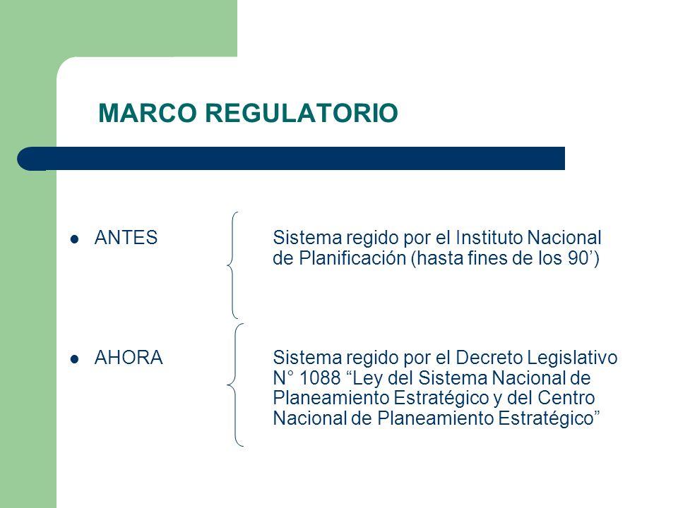 MARCO REGULATORIOANTES Sistema regido por el Instituto Nacional de Planificación (hasta fines de los 90')