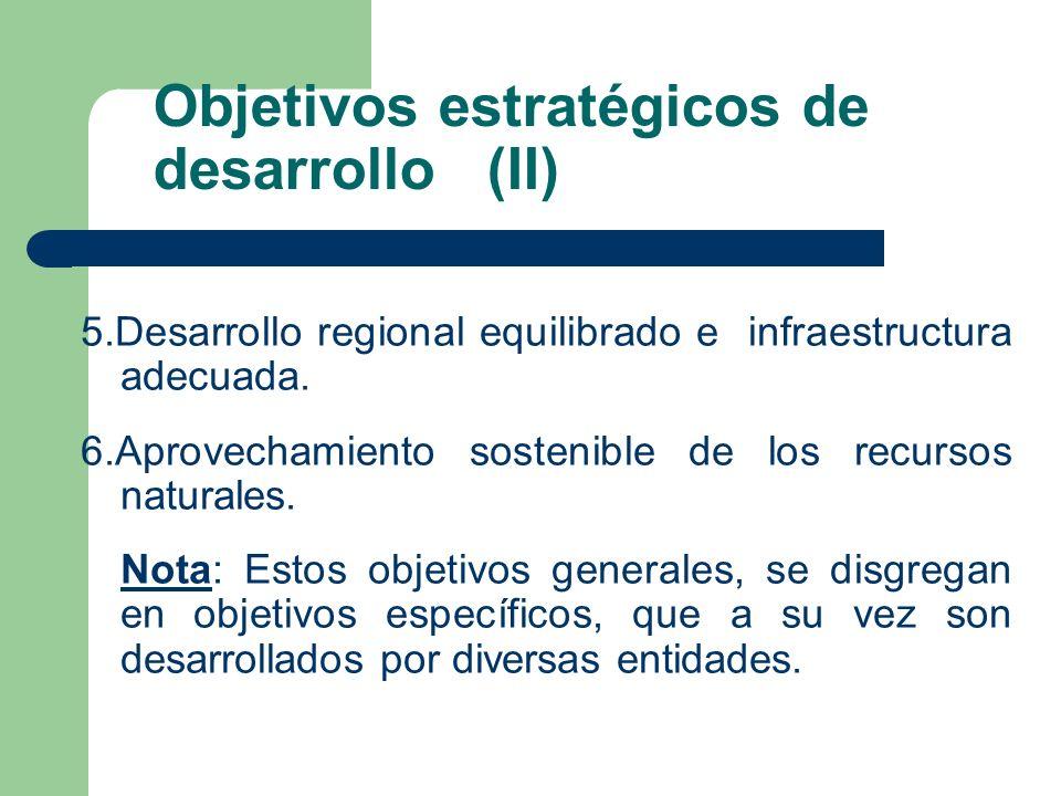 Objetivos estratégicos de desarrollo (II)