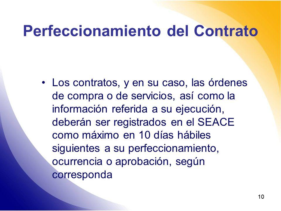 Perfeccionamiento del Contrato
