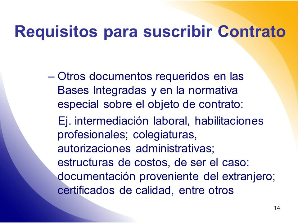 Requisitos para suscribir Contrato