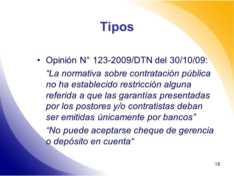Tipos Opinión N° 123-2009/DTN del 30/10/09: