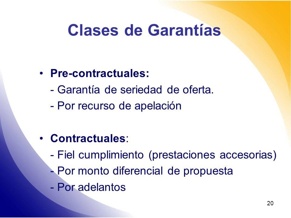 Clases de Garantías Pre-contractuales: