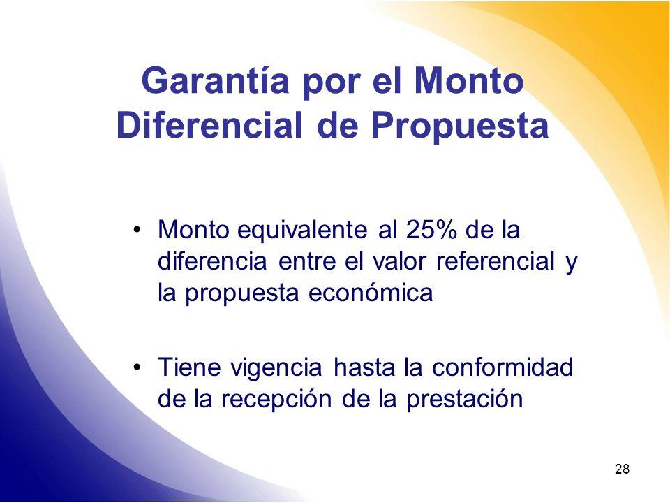 Garantía por el Monto Diferencial de Propuesta