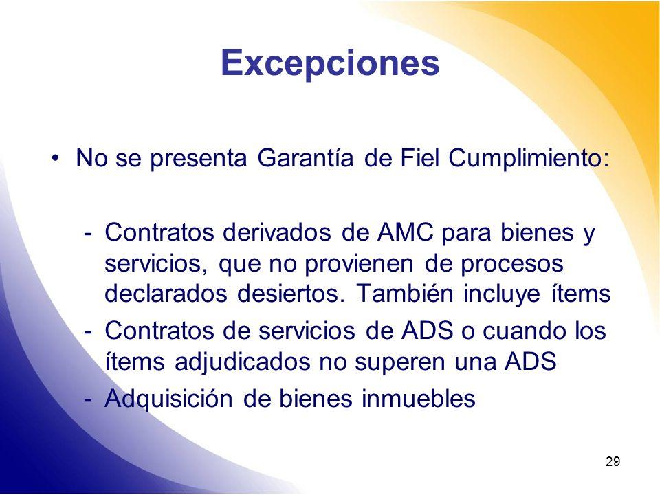 Excepciones No se presenta Garantía de Fiel Cumplimiento: