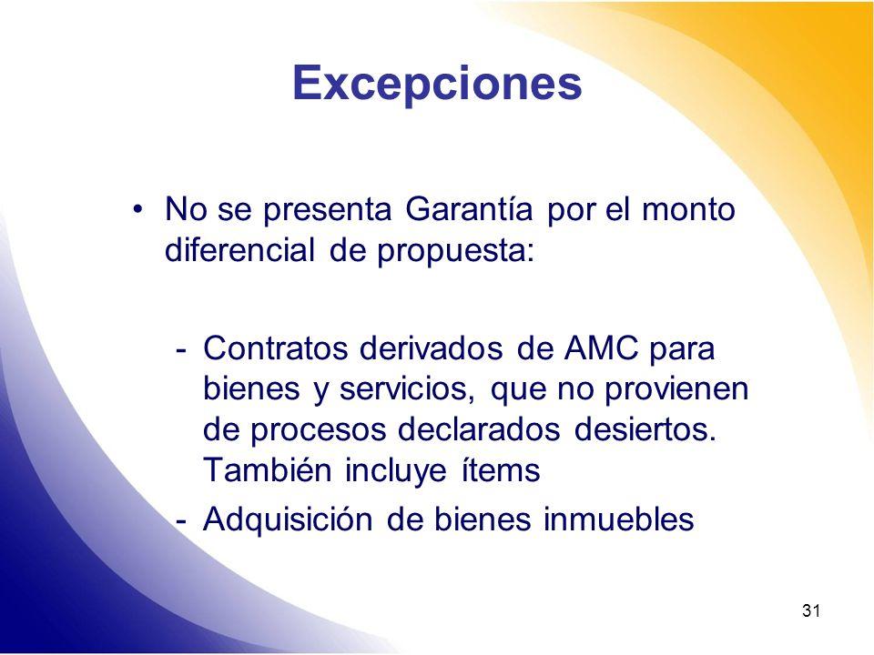 Excepciones No se presenta Garantía por el monto diferencial de propuesta: