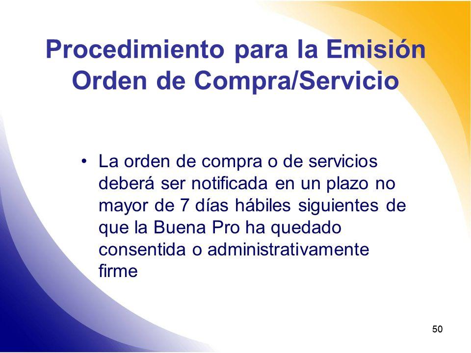 Procedimiento para la Emisión Orden de Compra/Servicio