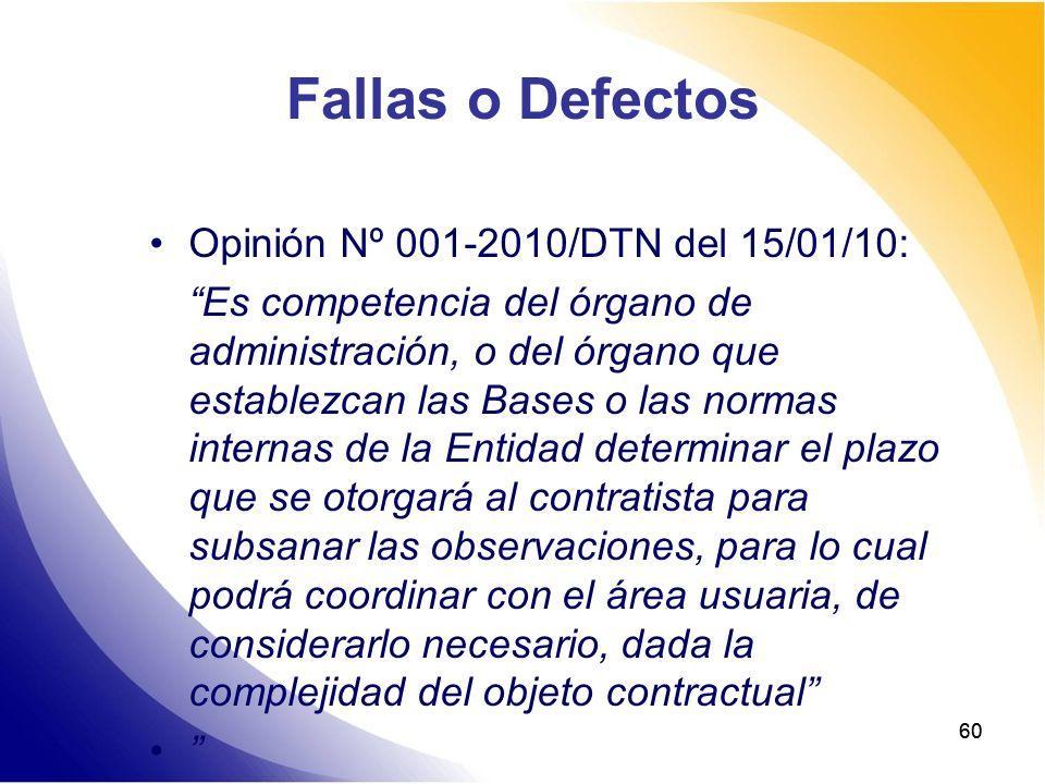 Fallas o Defectos Opinión Nº 001-2010/DTN del 15/01/10: