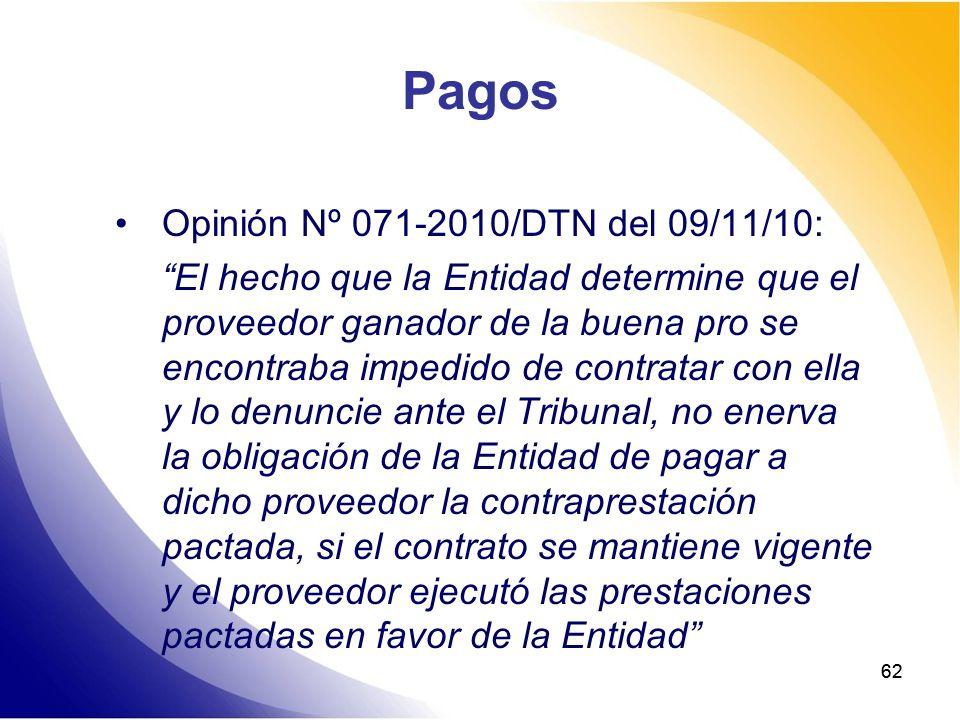 Pagos Opinión Nº 071-2010/DTN del 09/11/10: