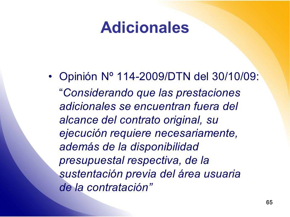 Adicionales Opinión Nº 114-2009/DTN del 30/10/09: