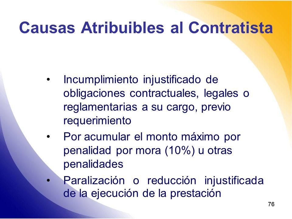 Causas Atribuibles al Contratista