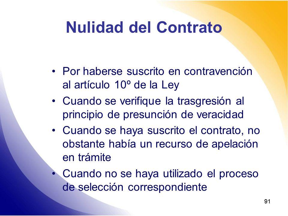 Nulidad del Contrato Por haberse suscrito en contravención al artículo 10º de la Ley.