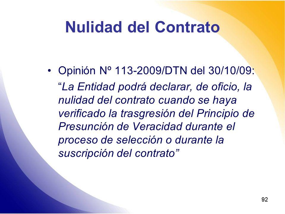 Nulidad del Contrato Opinión Nº 113-2009/DTN del 30/10/09: