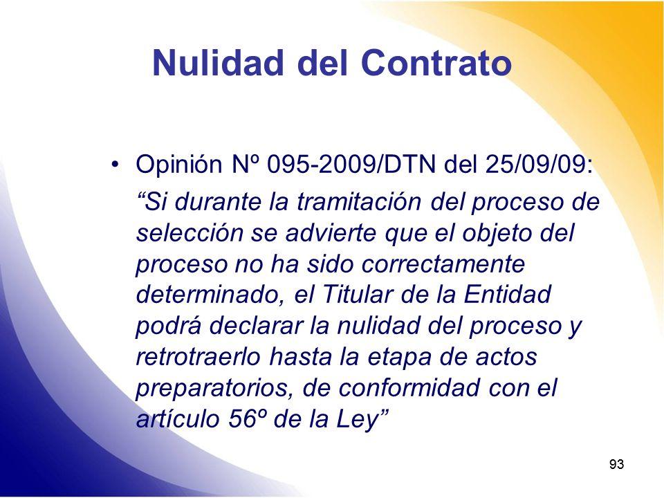 Nulidad del Contrato Opinión Nº 095-2009/DTN del 25/09/09: