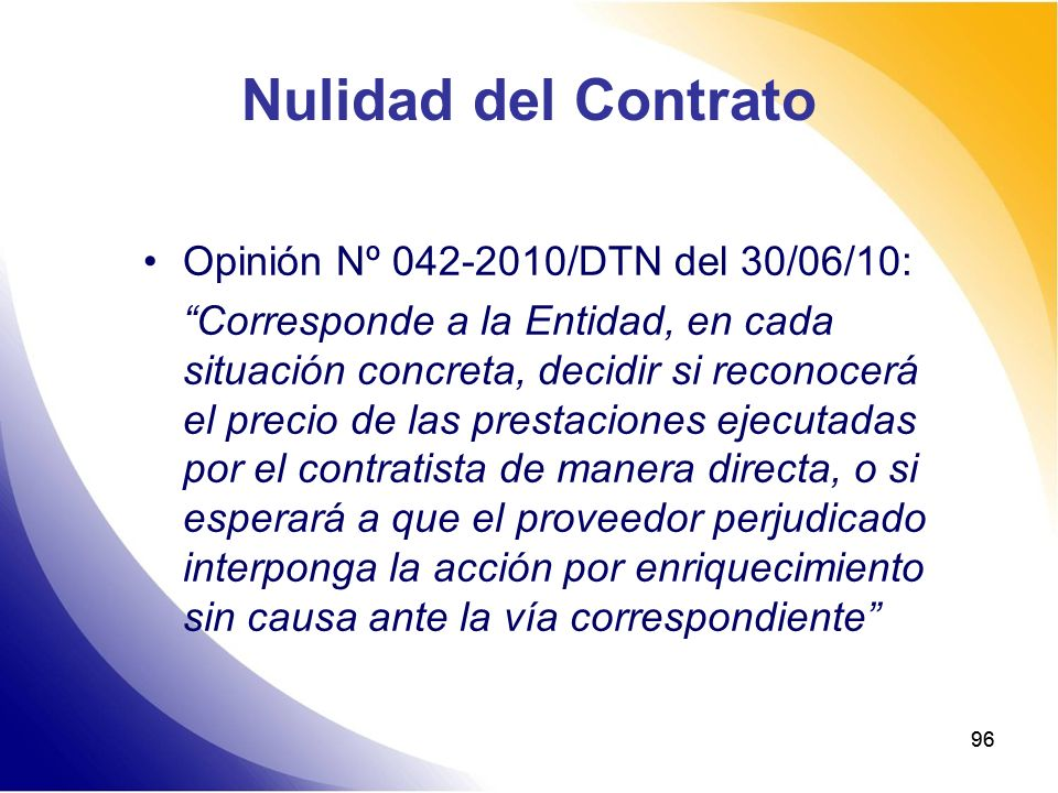 Nulidad del Contrato Opinión Nº 042-2010/DTN del 30/06/10: