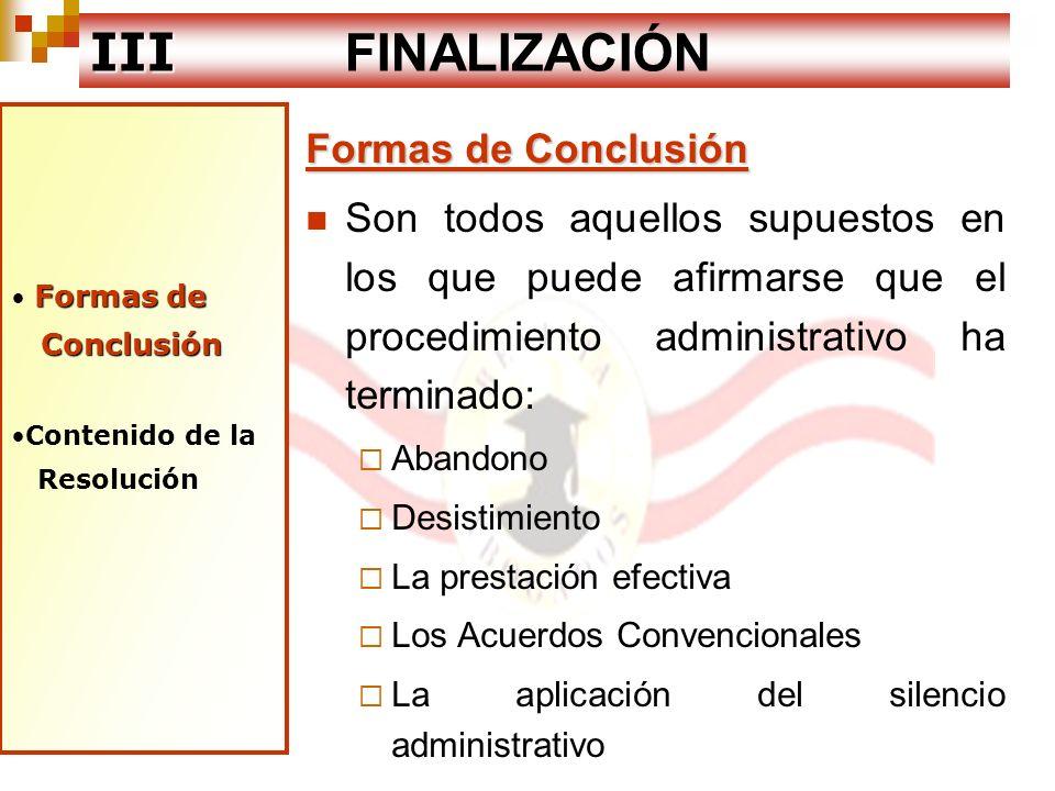 III FINALIZACIÓN Formas de Conclusión