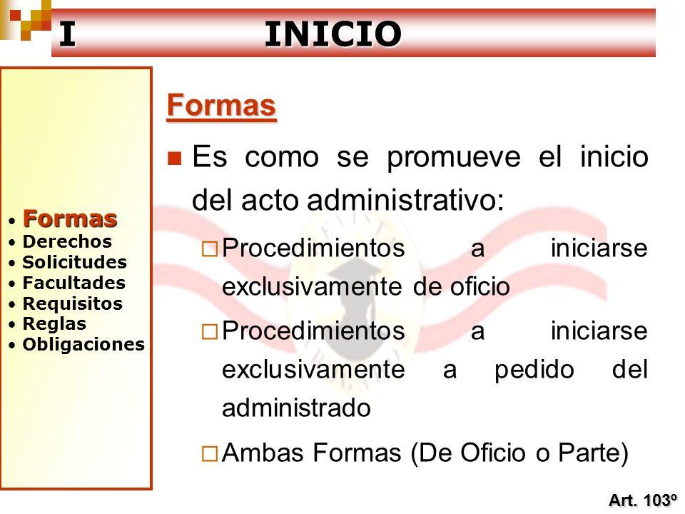 I INICIO Formas Es como se promueve el inicio del acto administrativo: