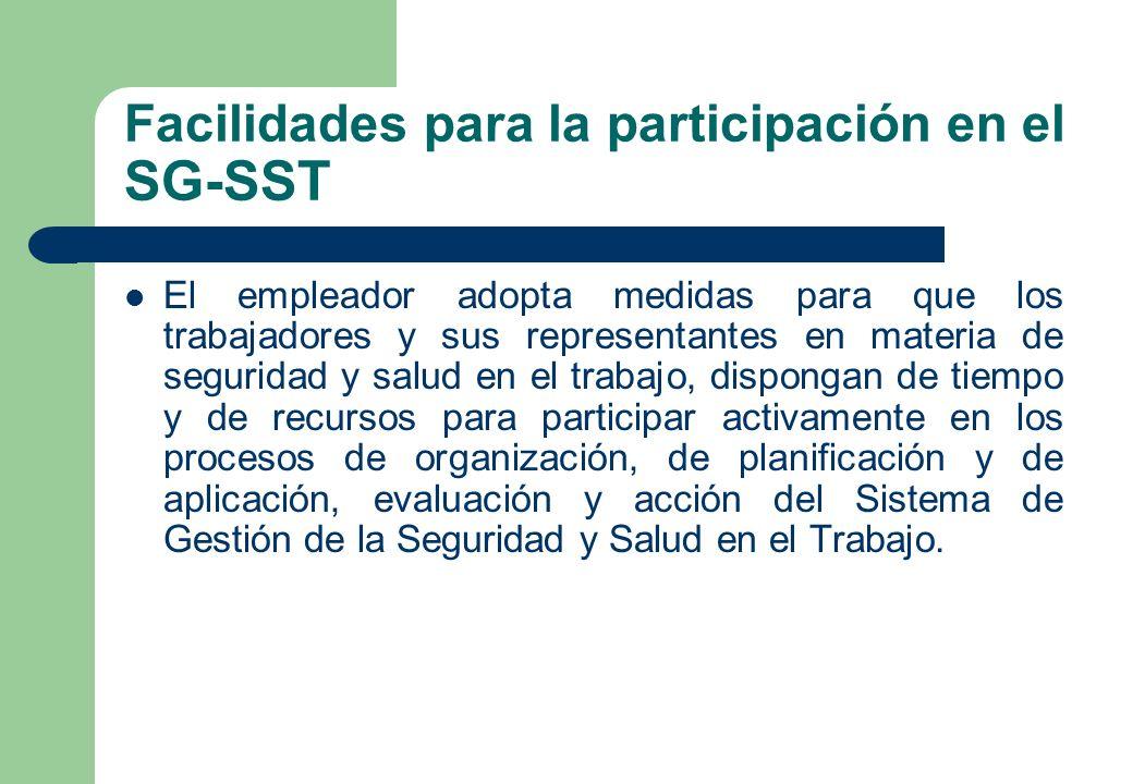 Facilidades para la participación en el SG-SST