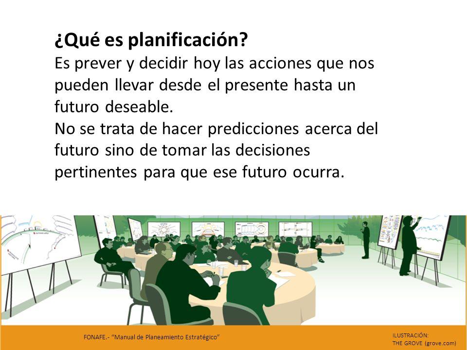 ¿Qué es planificación Es prever y decidir hoy las acciones que nos pueden llevar desde el presente hasta un futuro deseable.