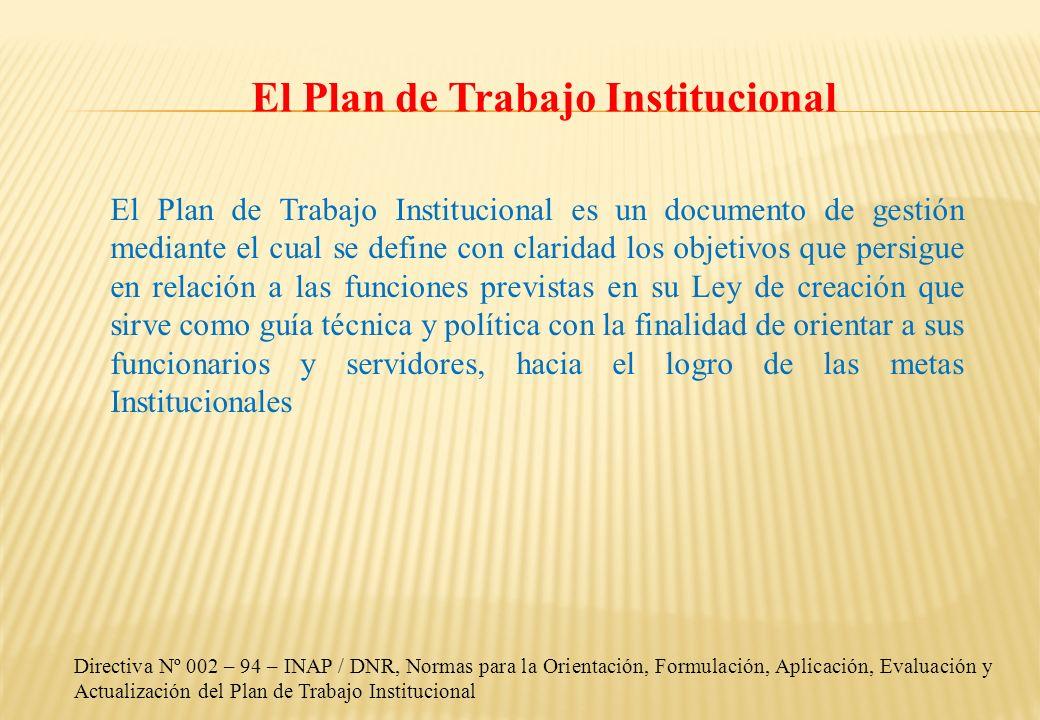 El Plan de Trabajo Institucional