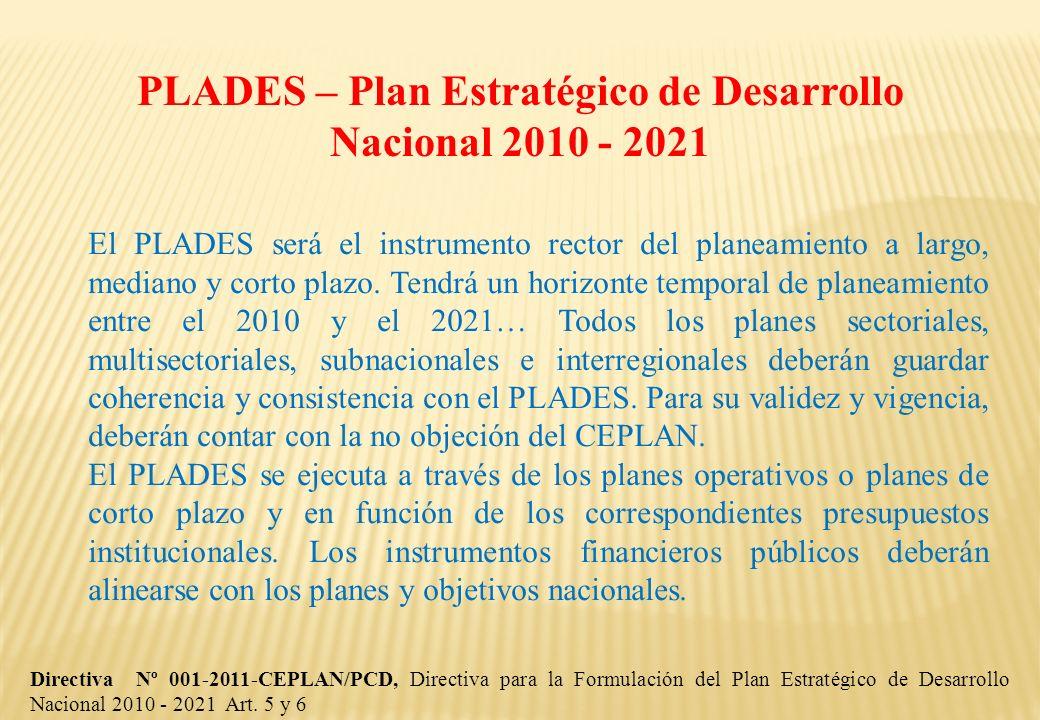 PLADES – Plan Estratégico de Desarrollo Nacional 2010 - 2021