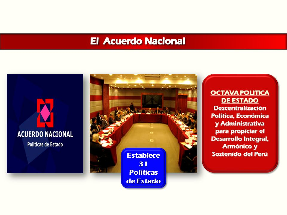 El Acuerdo Nacional Establece 31 Políticas de Estado OCTAVA POLITICA