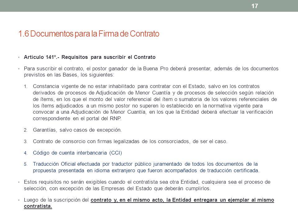 1.6 Documentos para la Firma de Contrato
