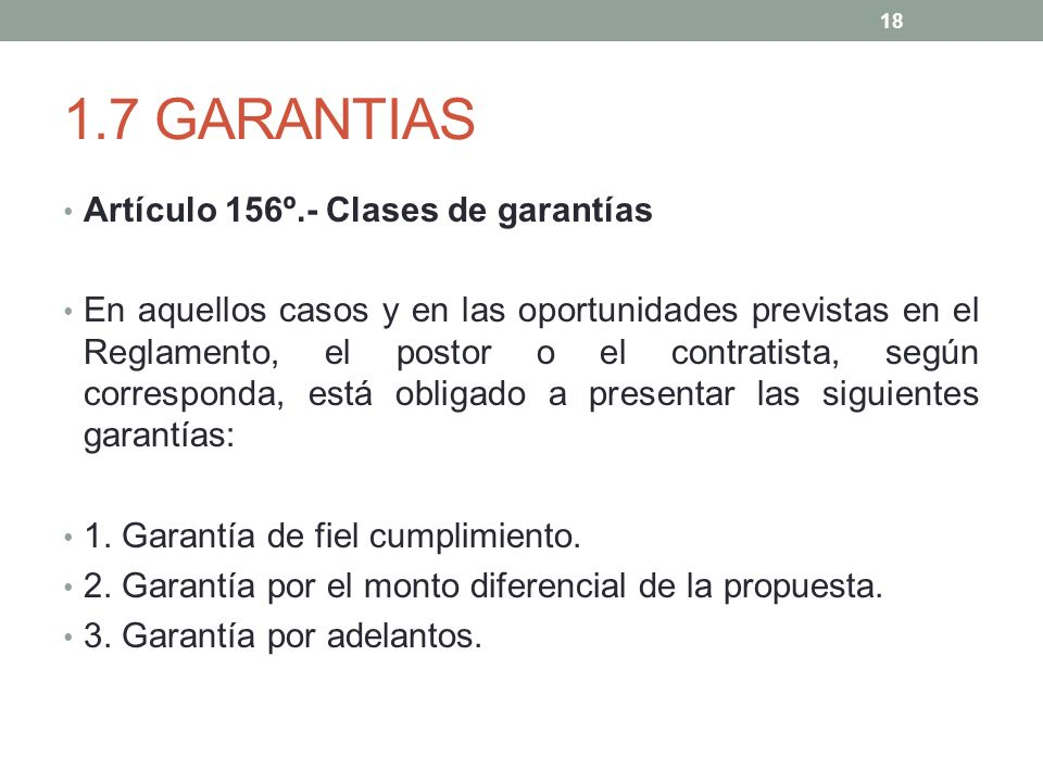 1.7 GARANTIAS Artículo 156º.- Clases de garantías