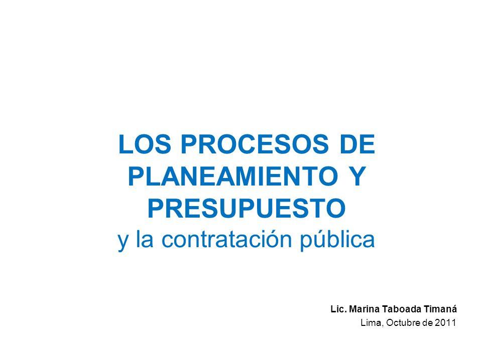 LOS PROCESOS DE PLANEAMIENTO Y PRESUPUESTO y la contratación pública