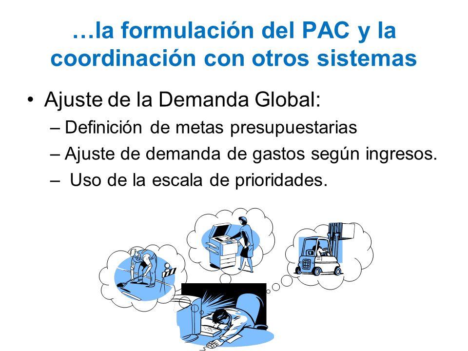 …la formulación del PAC y la coordinación con otros sistemas