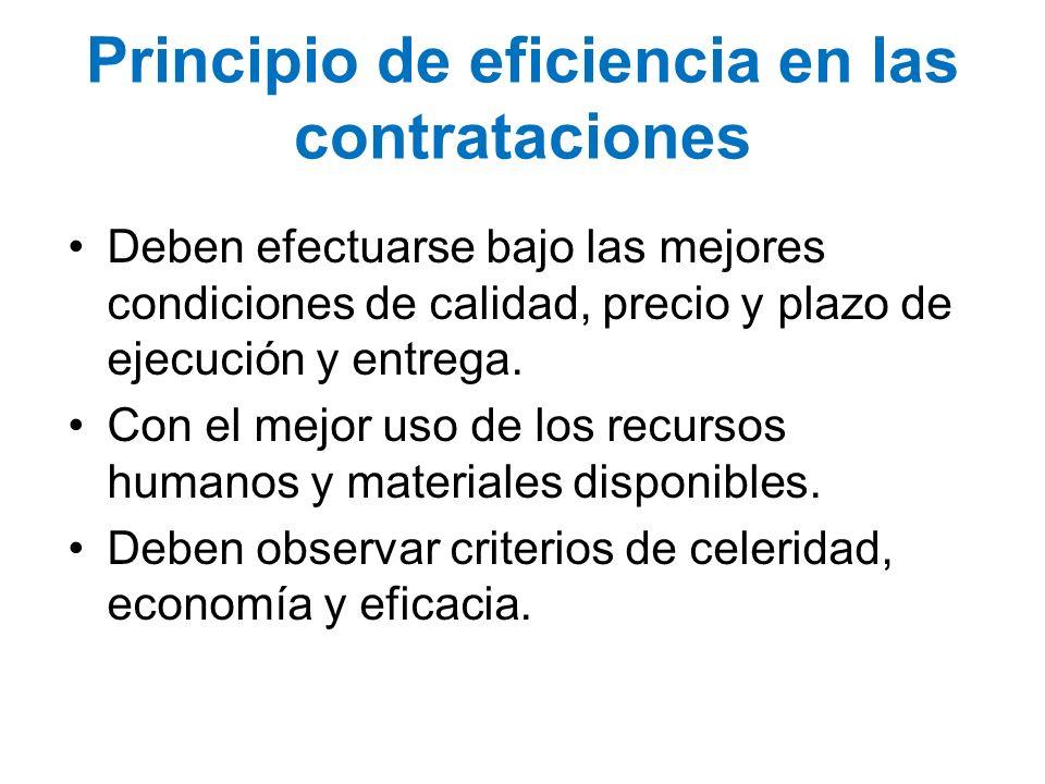 Principio de eficiencia en las contrataciones