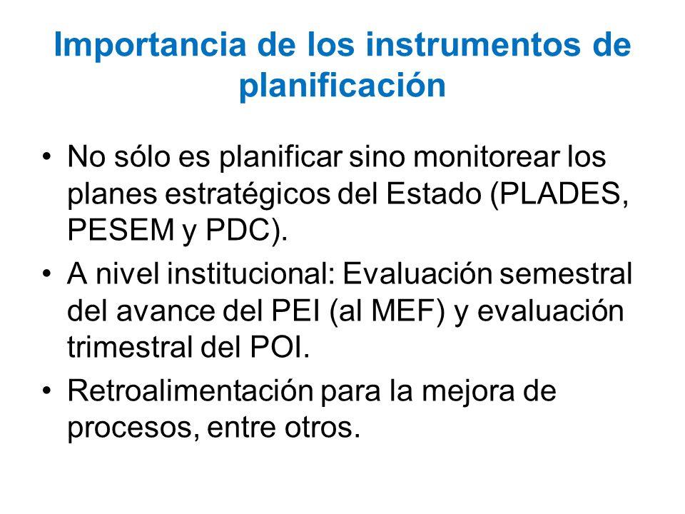 Importancia de los instrumentos de planificación