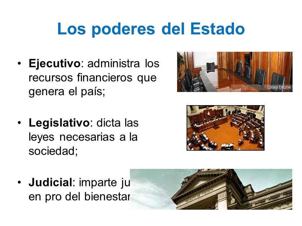 Los poderes del Estado Ejecutivo: administra los recursos financieros que genera el país; Legislativo: dicta las leyes necesarias a la sociedad;