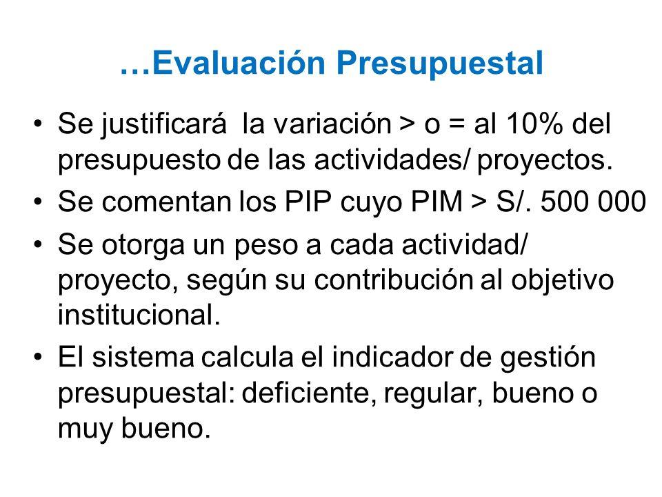 …Evaluación Presupuestal