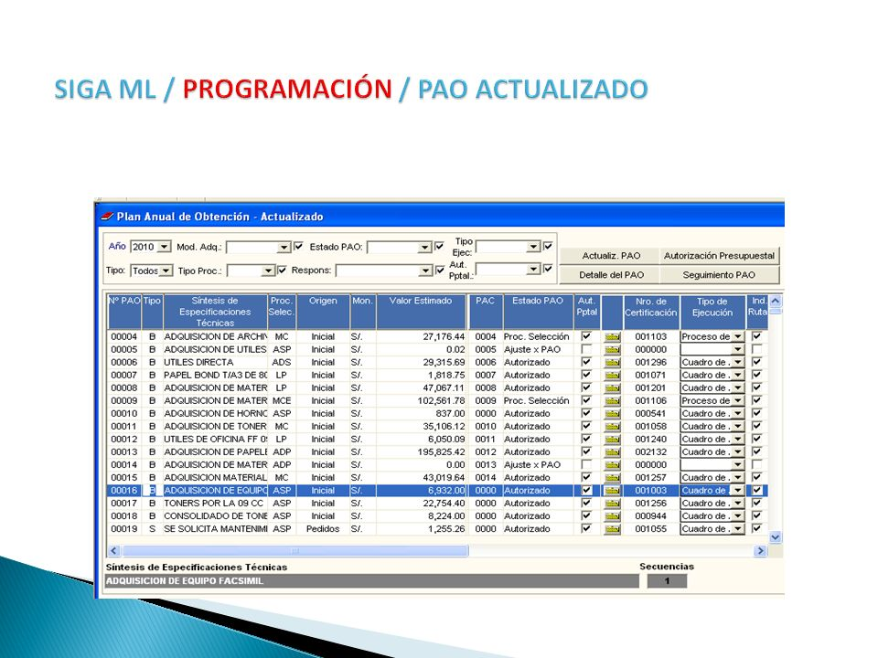 SIGA ML / PROGRAMACIÓN / PAO ACTUALIZADO