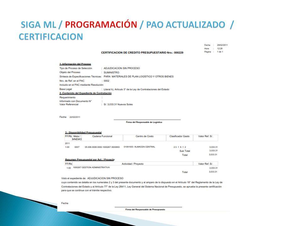 SIGA ML / PROGRAMACIÓN / PAO ACTUALIZADO / CERTIFICACION