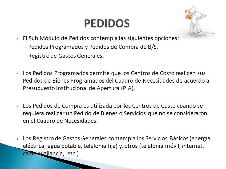 PEDIDOS El Sub Módulo de Pedidos contempla las siguientes opciones: