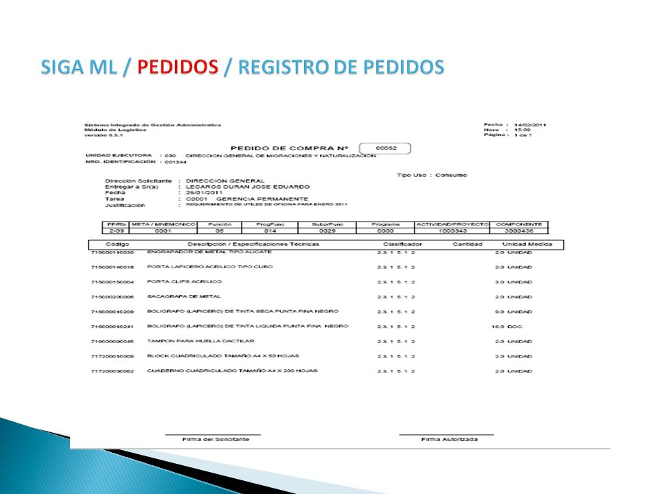 SIGA ML / PEDIDOS / REGISTRO DE PEDIDOS