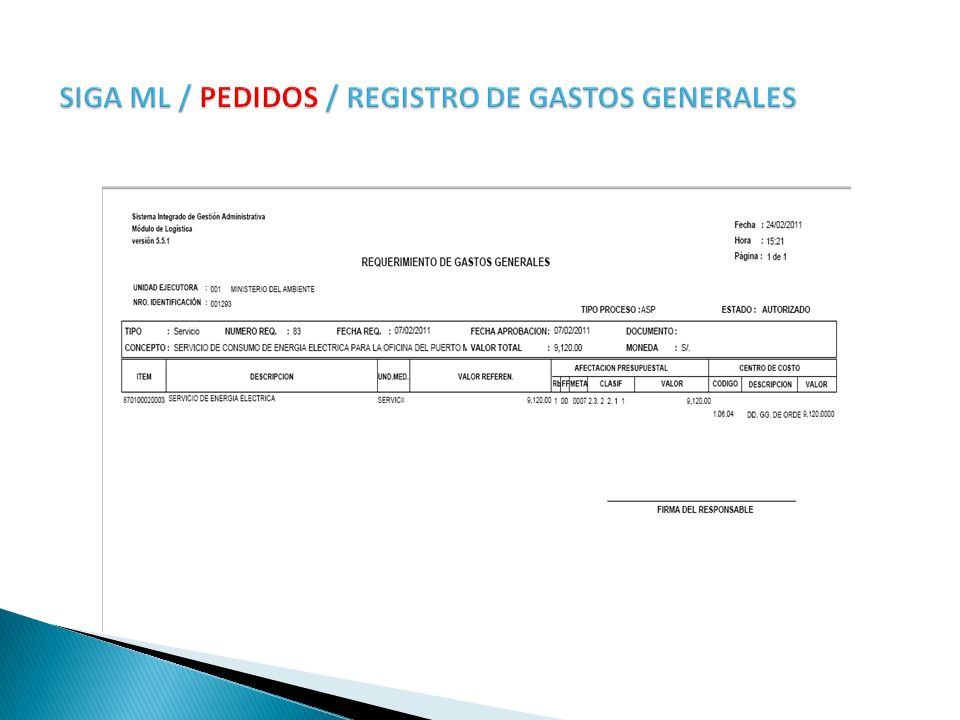 SIGA ML / PEDIDOS / REGISTRO DE GASTOS GENERALES