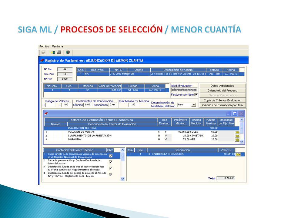 SIGA ML / PROCESOS DE SELECCIÓN / MENOR CUANTÍA